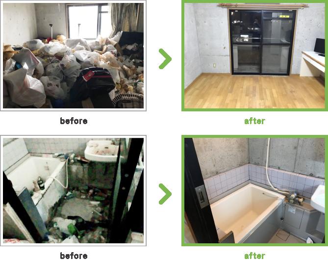 case4 1Kのゴミ屋敷清掃 三重県鈴鹿市 ゴミ屋敷清掃(全撤去)風景