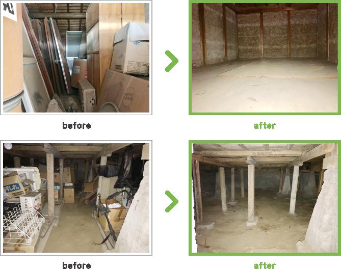 case5 木造3階建て倉庫内全撤去 三重県桑名市 解体前の木造倉庫内全撤去風景